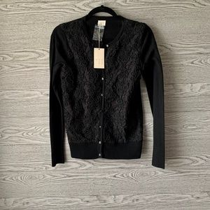 A New Day Black Lace Button Down Cardigan Sweater